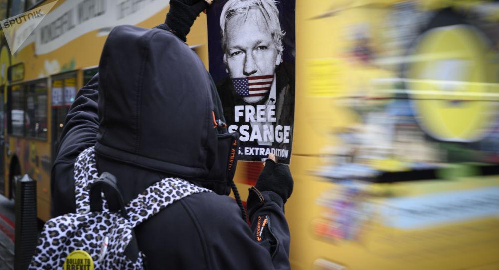 Akcja poparcia Juliana Assange'a w Londynie