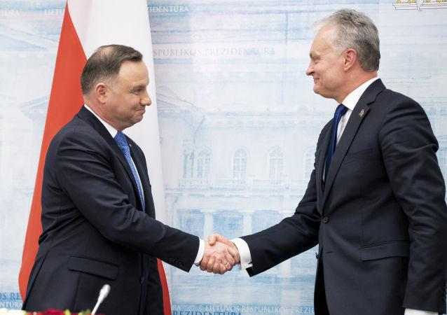 Prezydent Andrzej Duda z prezydentem Litwy Gitanasem Nausedą podczas spotkania w Wilnie