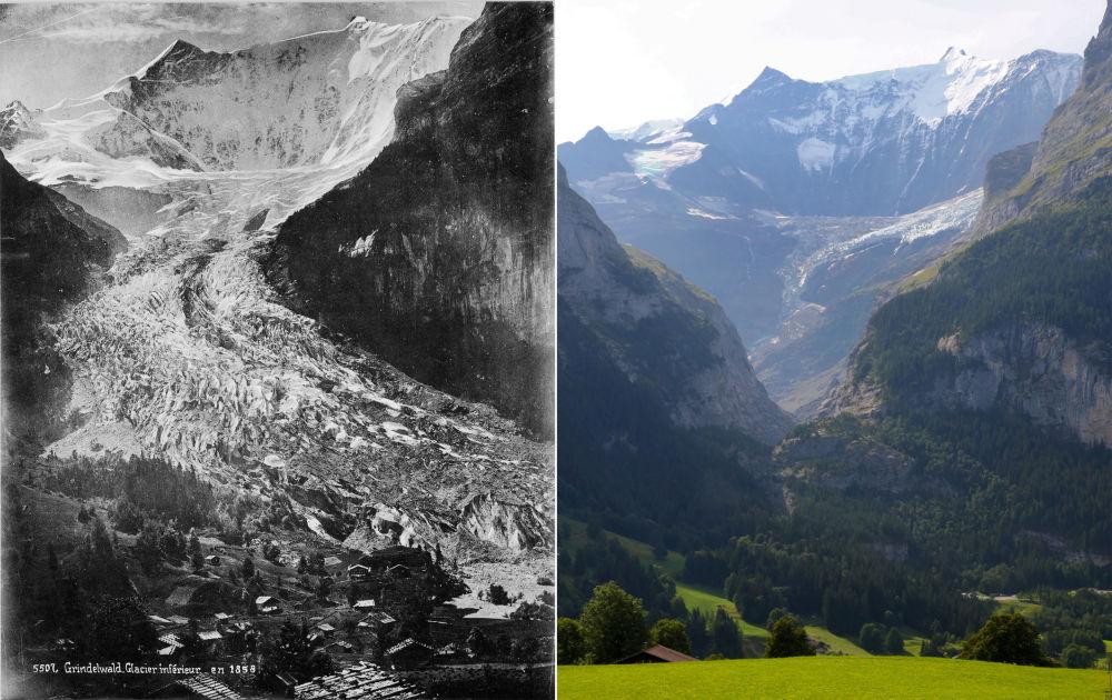 Dolny lodowiec Grindelwaldu w 1849 i 2019 roku