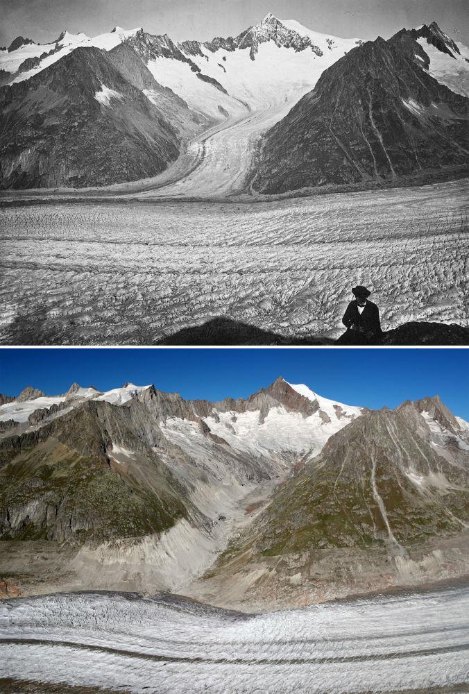 Lodowiec Aletschgletscher w 1860-1877 i 2019 roku