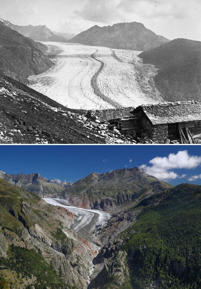 Lodowiec Aletschgletscher w 1865 i 2019 roku
