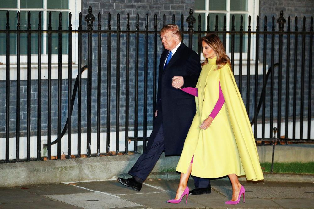 Prezydent USA Donald Trump z żoną Melanią w Londynie
