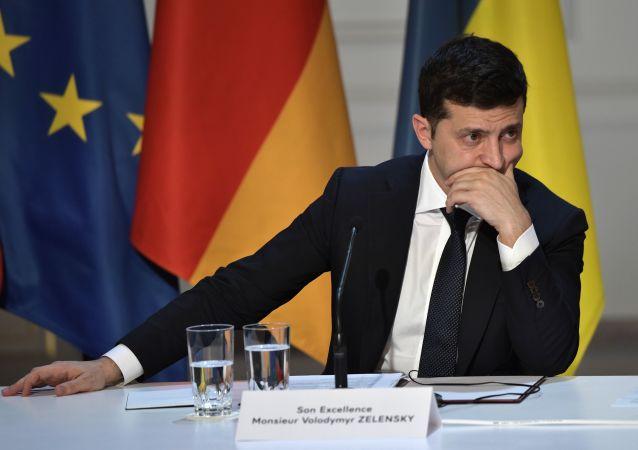 Wołodymyr Zełenski podczas konferencji prasowej