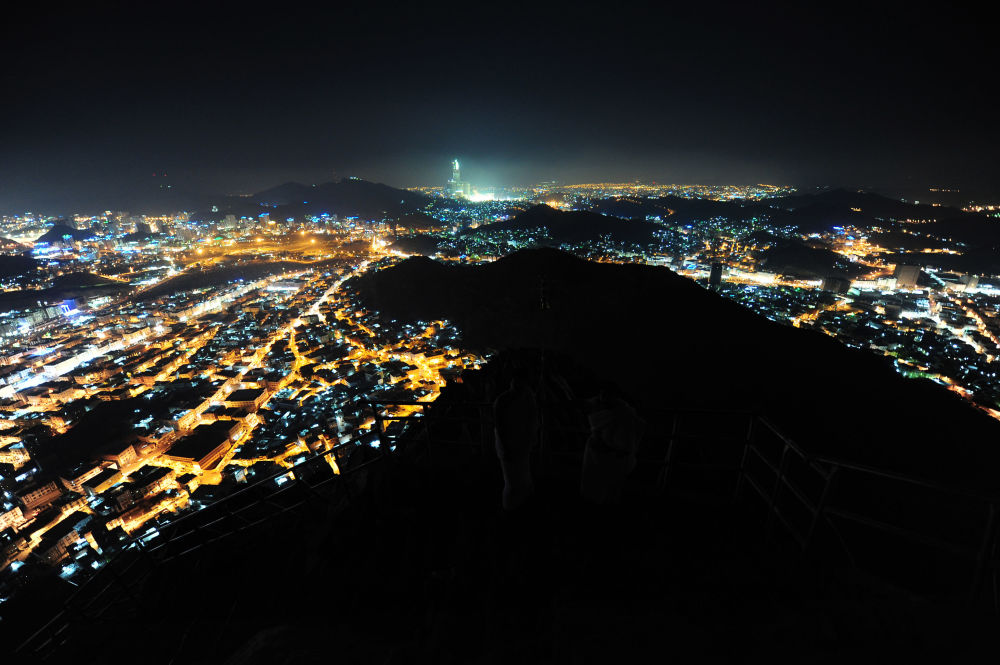 Widok na Mekkę z góry Jabal Al Nour w Arabii Saudyjskiej