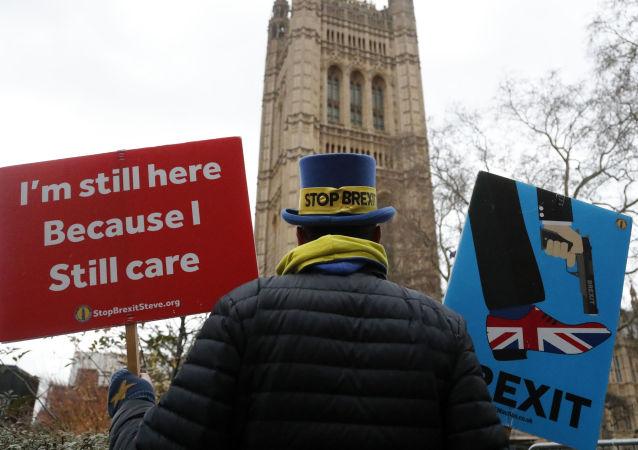 Przeciwnik Brexitu w Londynie