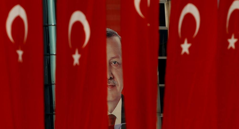 Plakat z wizerunkiem prezydenta Turcji Tayyipa Erdogana