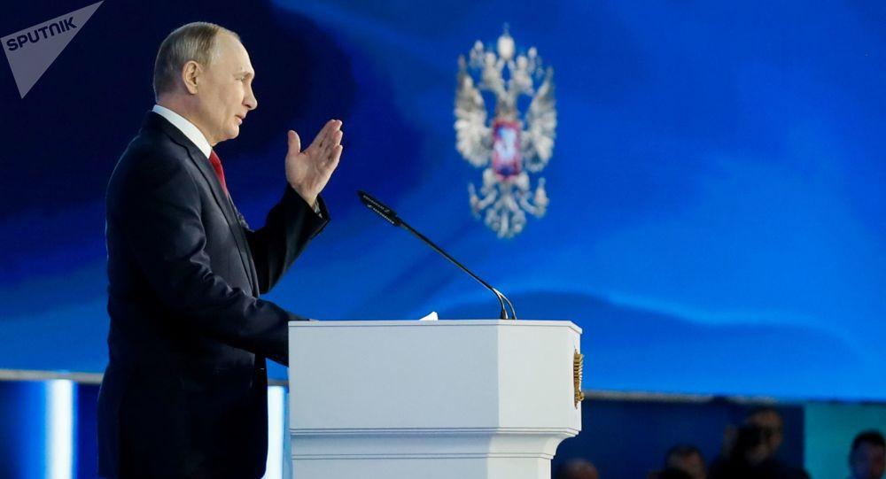 Prezydent Rosji Władimir Putin wygłasza coroczne orędzie do Zgromadzenia Federalnego