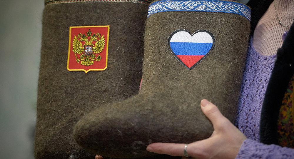 Walonki z symbolami Rosji