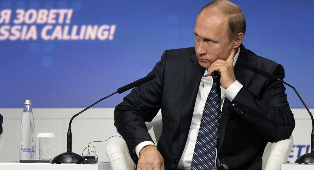 Prezydent Rosji Władimir Putin na forum WTB Kapitał Rosja woła! w Moskwie