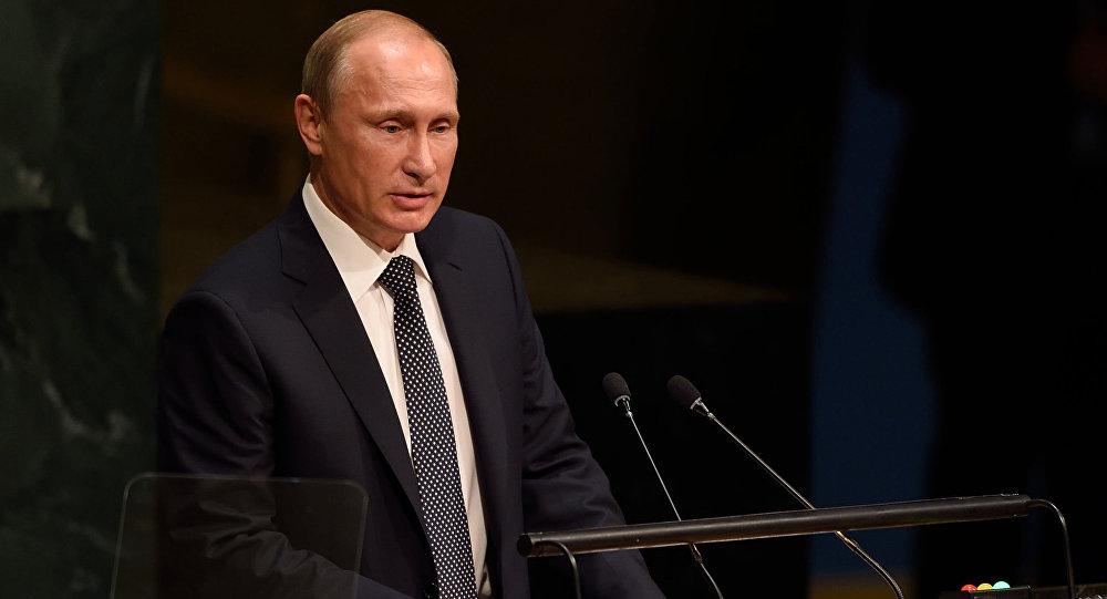 Prezydent Rosji Władimir Putin przemawia z trybuny Zgromadzenia Ogólnego ONZ