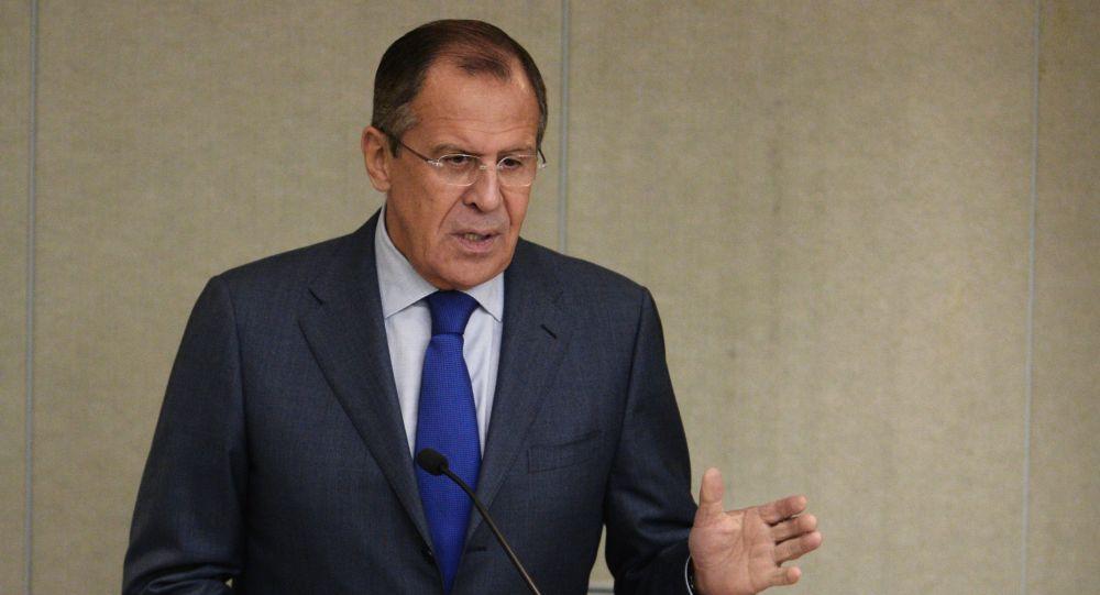 Minister spraw zagranicznych Rosji Siergiej Ławrow na posiedzeniu Dumy Państwowej Rosji