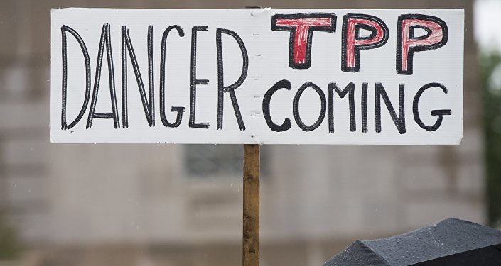 Akcja ptotestu przeciwko TPP. Washington, 21maja, 2015