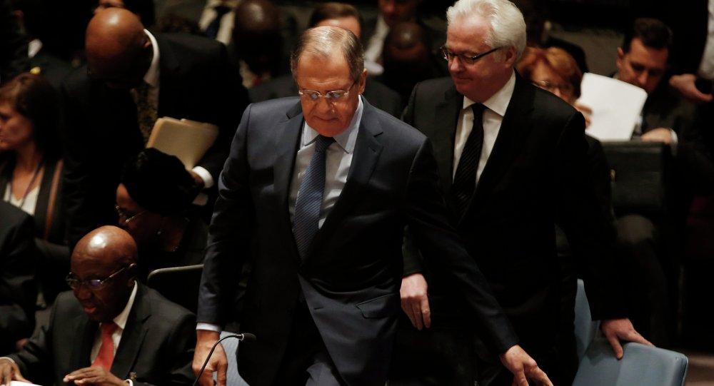 Minister Spraw Zagranicznych Rosji Siergiej Ławrow na posiedzeniu Rady Bezpieczeństwa ONZ