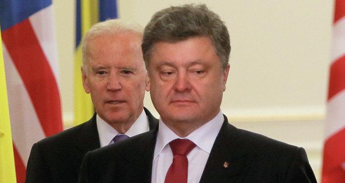 Prezydent Ukrainy Petro Poroszenko i wiceprezydent USA Joe Biden