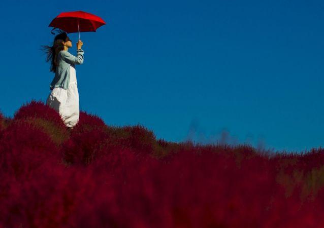 Dziewczyna w parku Hitachi w Tokio