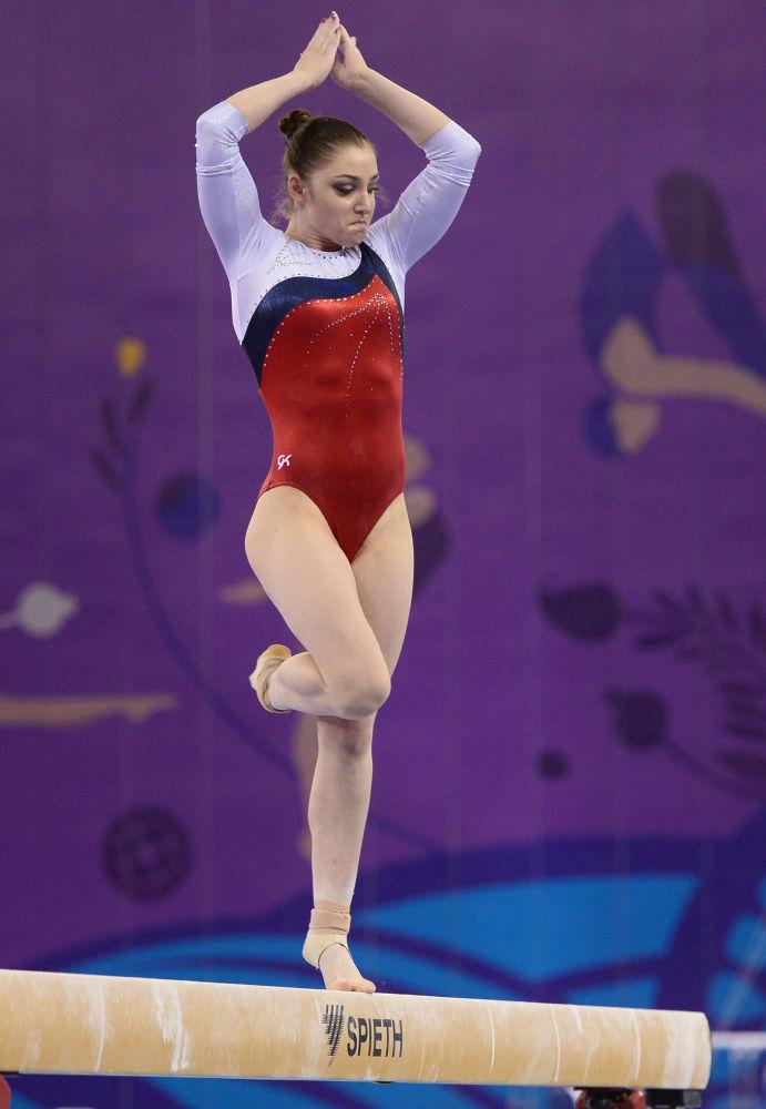 Rosjanka Alia Mustafina podczas I Igrzysk Europejskich w Baku