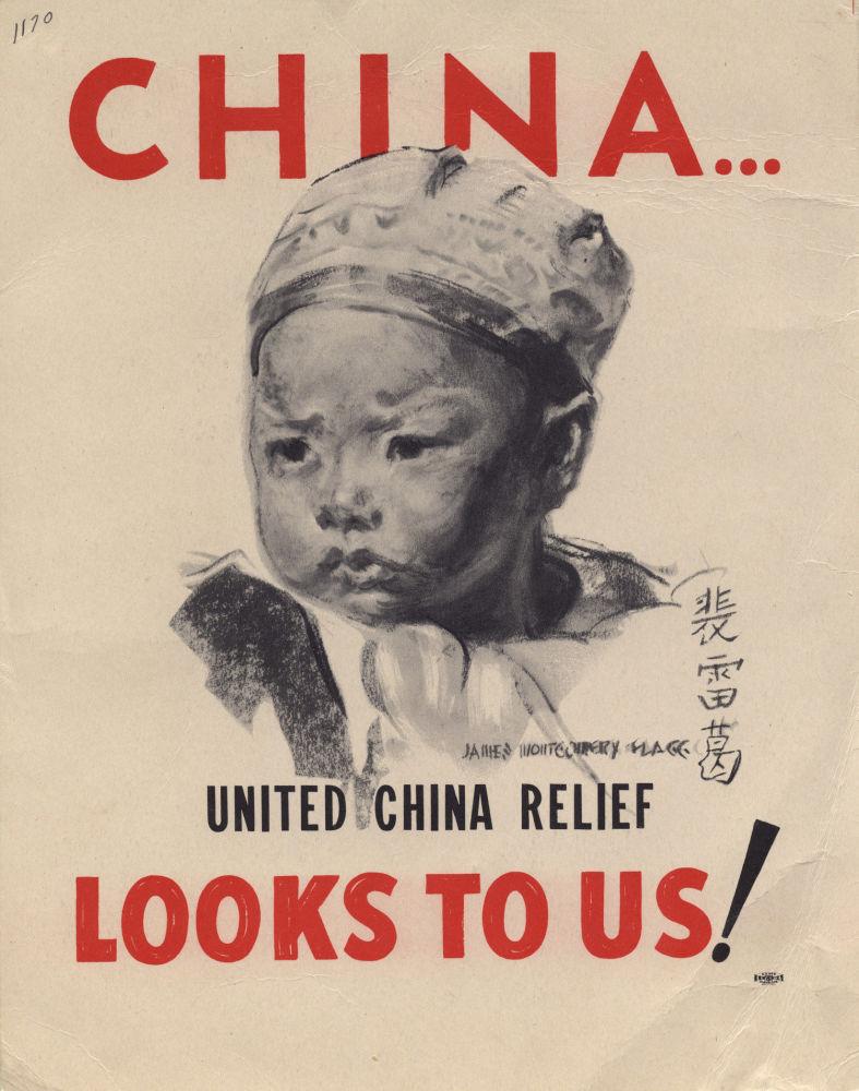Plakat wojenny. Małe dziecko w czapce