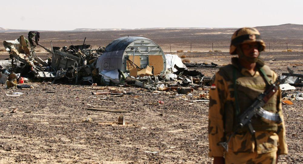 Fragmenty samolotu Airbus A321 linii lotniczych Kogałymawia na miejscu katastrofy w Egipcie