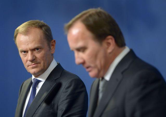 Przewodniczący Rady Europejskiej Donald Tusk i premier Szwecji Stefan Löfven