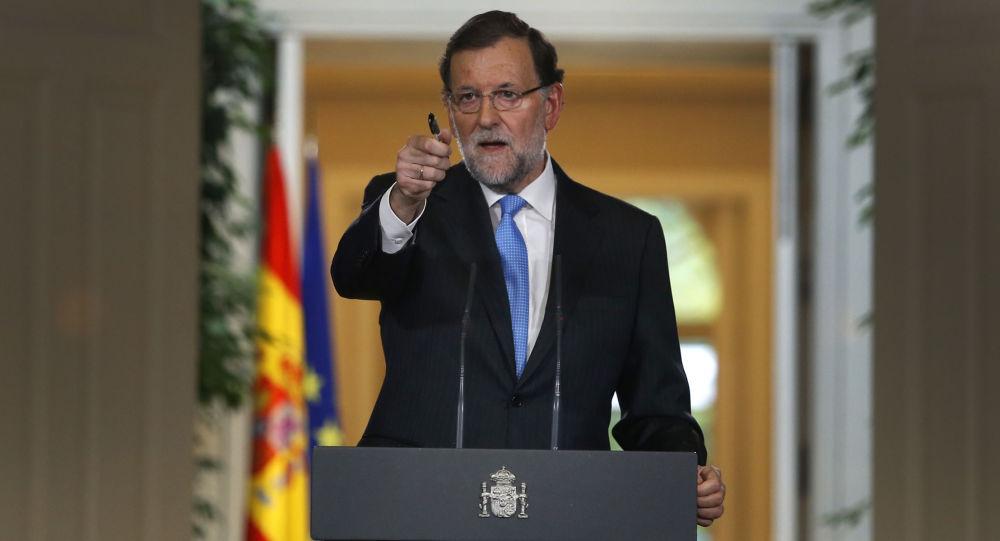 Przewodniczący hiszpańskiego rządu Mariano Rajoy podczas konferencji w Madrycie