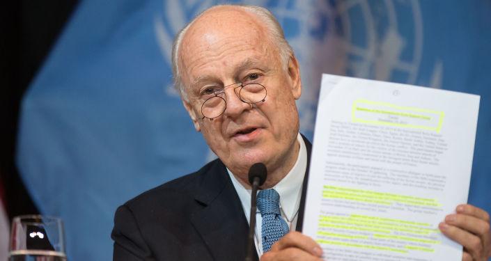 Specjalny wysłannik ONZ ds. Syrii Staffan de Mistura podczas konferencji prasowej w Wiedniu