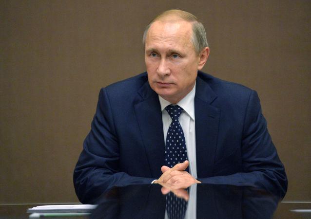 Prezydent Rosji Władimir Putin podczas posiedzenia Rady Bezpieczeństwa Rosji