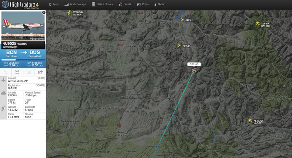 Zrzut ekranu ze strony Flightradar24, przedstawiający trasę rozbitego Airbusa A320