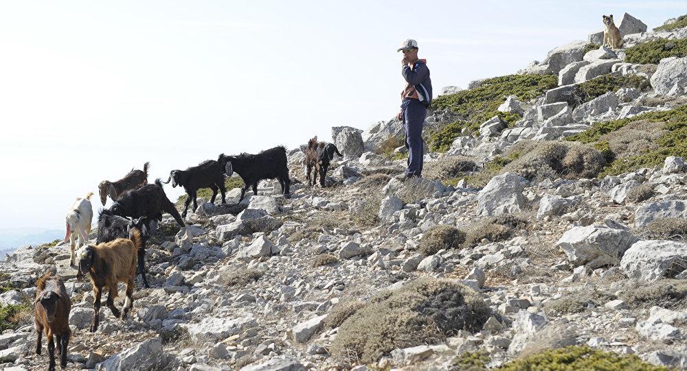 Pasterz na górze w pobliżu Slenfe