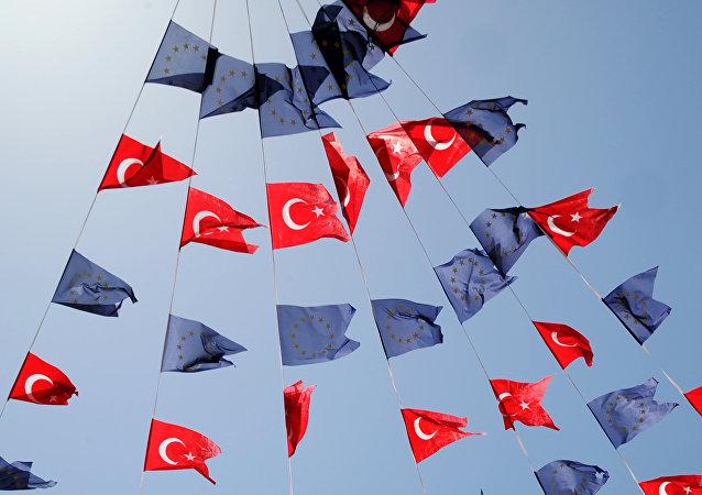Flagi Turcji i UE