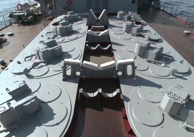 """Krążownik rakietowy """"Moskwa"""" w Syrii"""