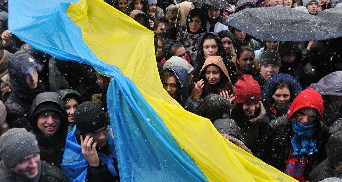 Ukraińscy studenci, wiec ws. integracji europejskiej