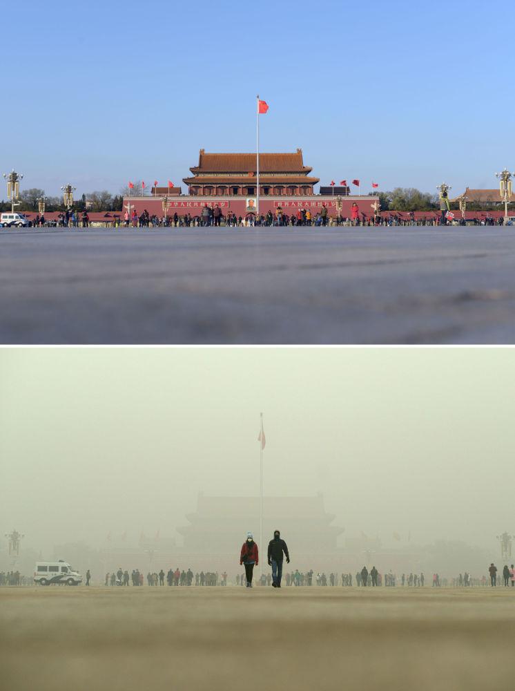 Plac Niebiańskiego Spokoju przed i po smogu w Chinach