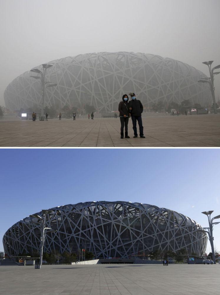 Stadion Narodowy w Pekinie przed i po smogu