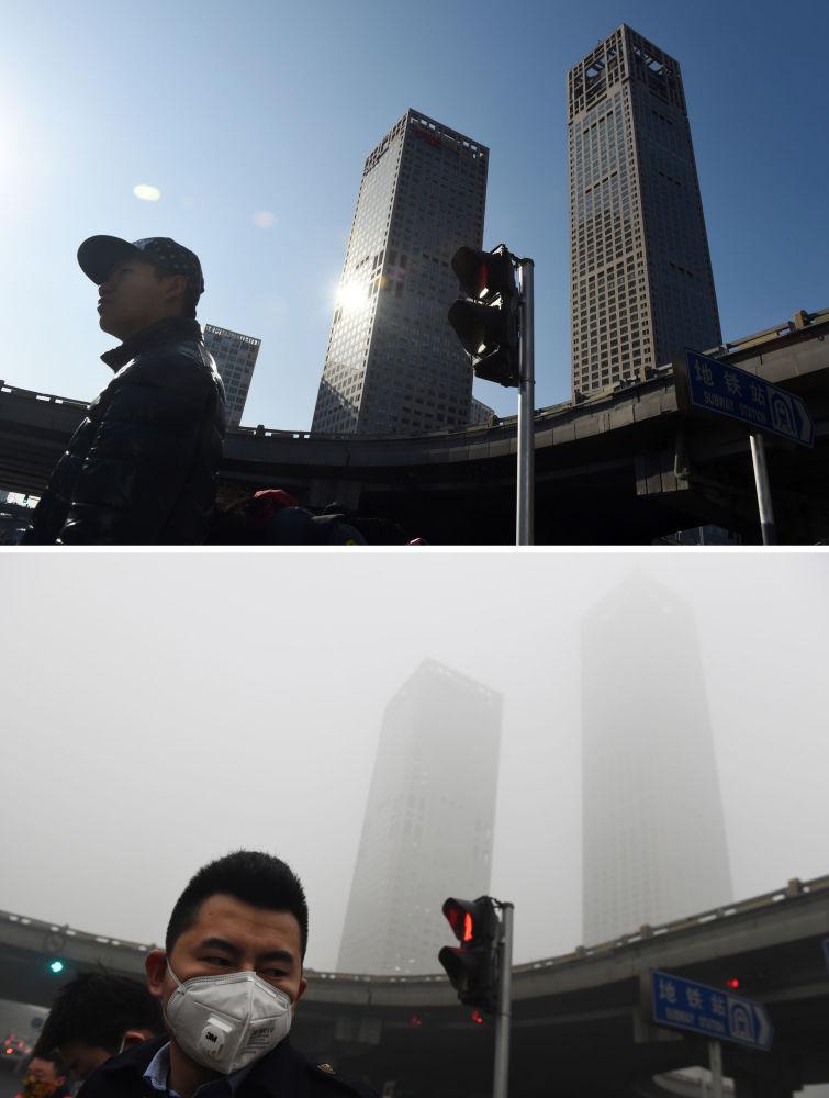 Pekin przed i po smogu