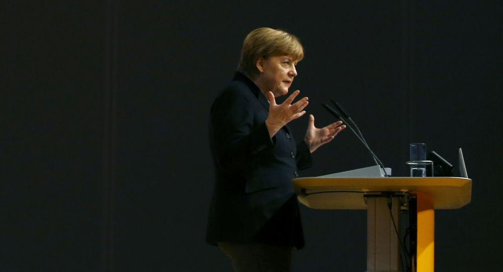 Kanclerz Angela Merkel w czasie wystąpienia na kongresie Unii Chrześcijańsko-Demokratycznej w Niemczech