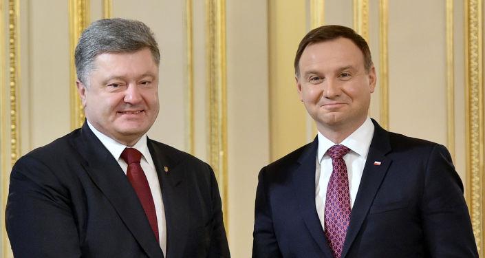 Petro Poroszenko i Andrzej Duda podczas wizyty na Ukrainie