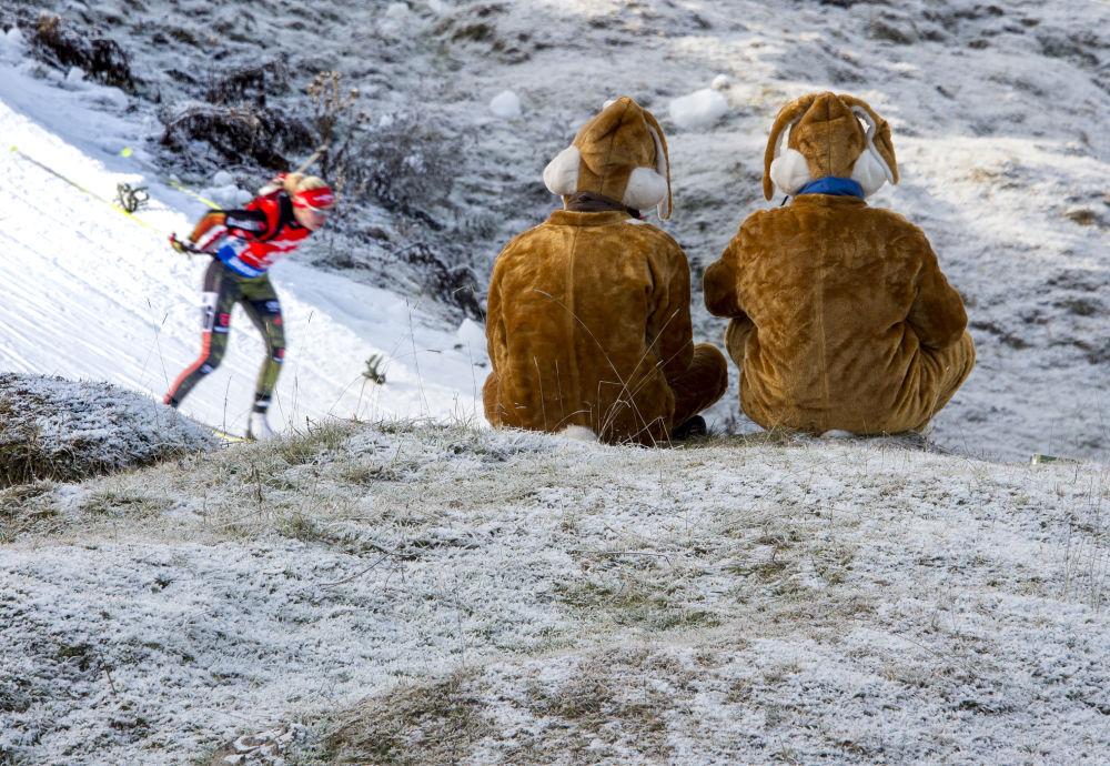Niemieccy kibice podczas zawodów o Puchar Świata w biathlonie w austriackim mieście Hochfilzen