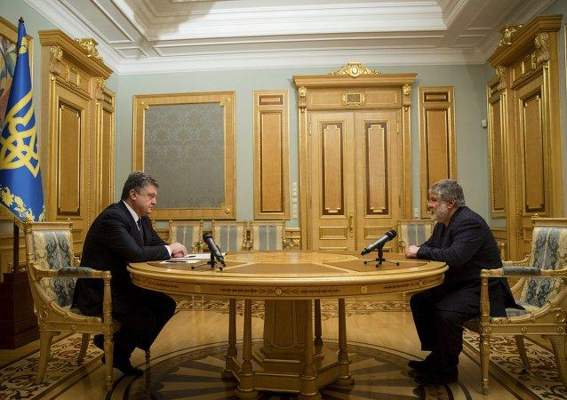 Prezydent Ukrainy Petro Poroszenko i Ihor Kołomojski