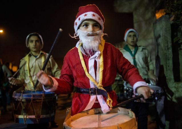 Na ulicach Damaszku podczas obchodów Bożego Narodzenia