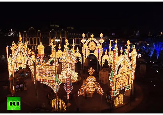 Świąteczna Moskwa z lotu ptaka