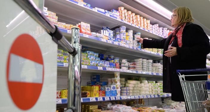 Litewski nabiał w moskiewskim supermarkecie