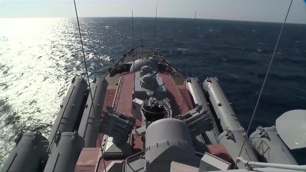 """Krążownik rakietowy """"Moskwa"""" dotarł do wybrzeża Latakii w celu zapewnienia obrony przeciwlotniczej regionu."""