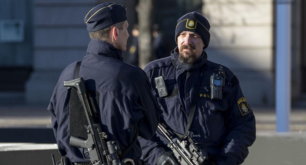 Szwedzka policja w Sztokholmie