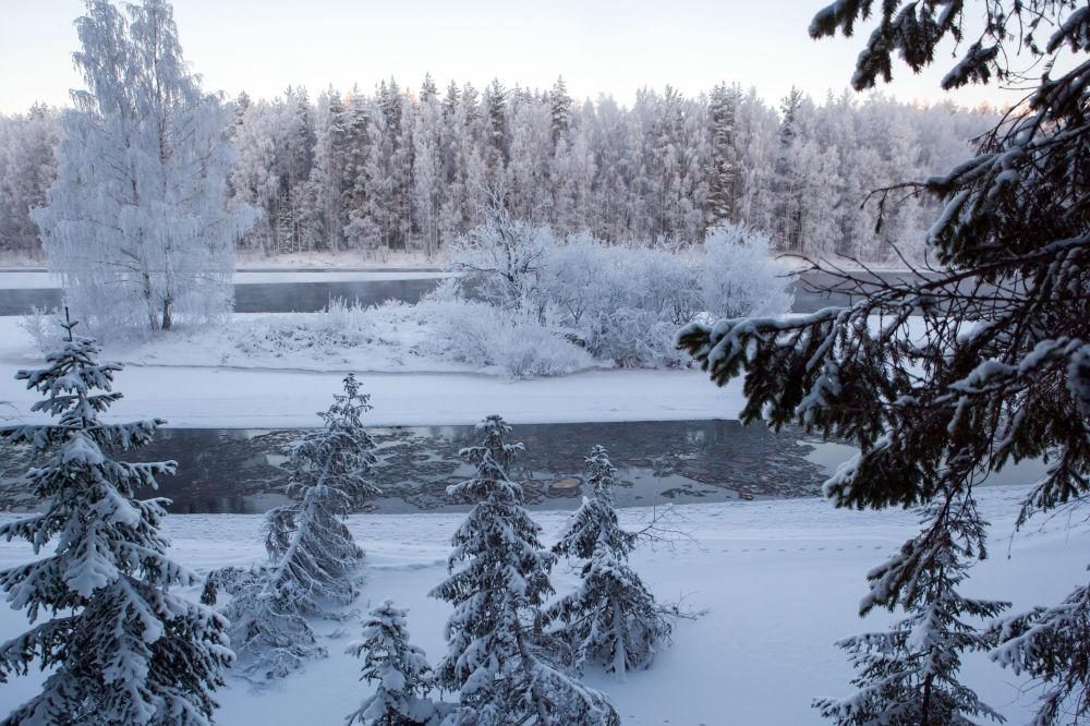 Rzeka Szuja zimą w Karelii