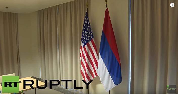 Departament Stanu USA powiesił do góry nogami rosyjską flagę