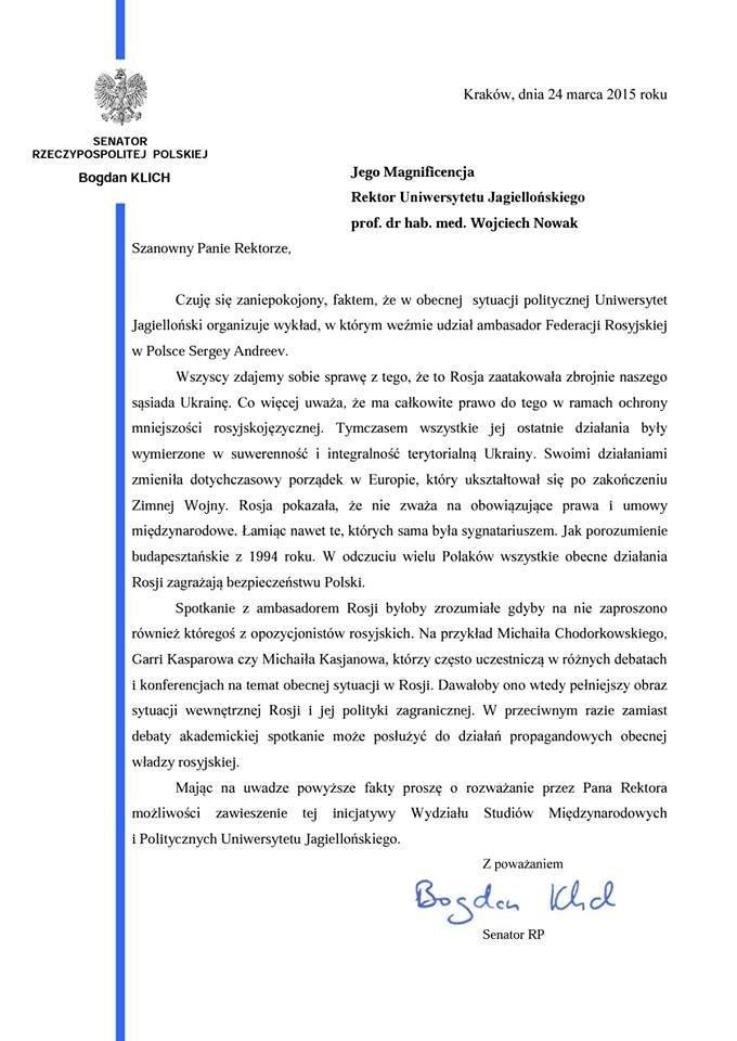 List otwarty senatora Bogdana Klicha do władz UJ