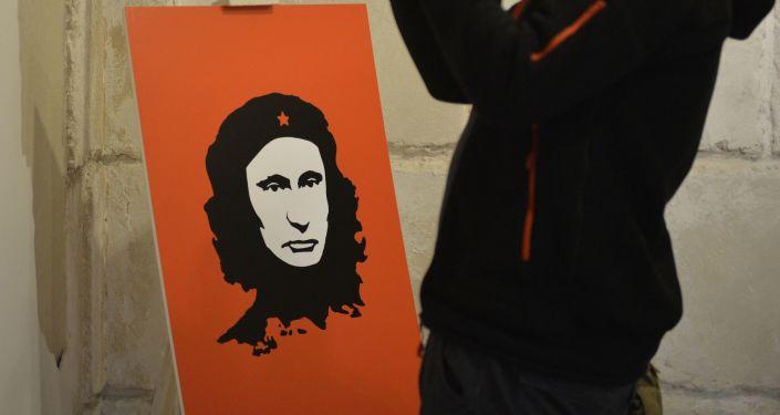 Władimid Putin jako Che Guevara na wystawie Putin Universe