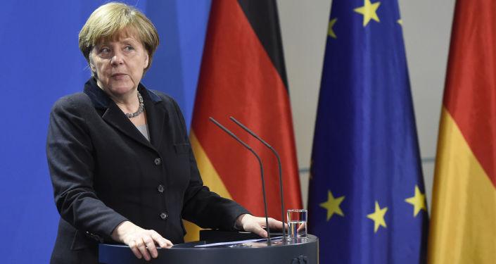 Kanclerz Niemiec Angela Merkel podczas konferencji prasowej w Berlinie