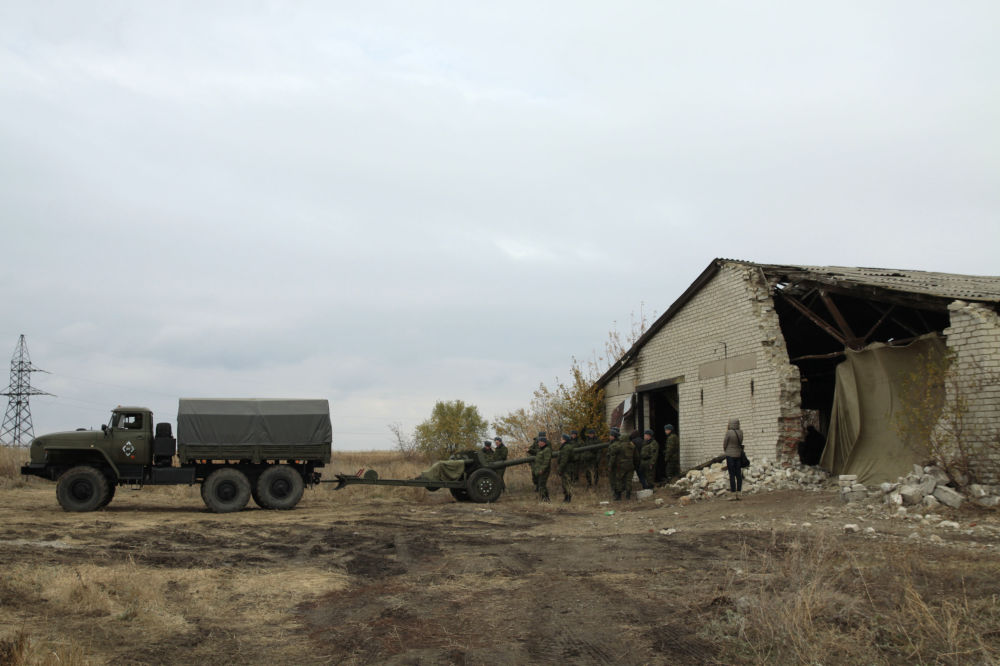 Wojskowa technika wycofana z linii frontu w obwodzie donieckim