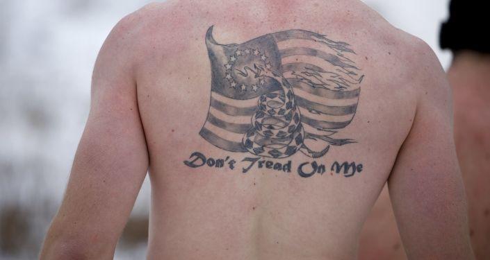 Tatuaż na plechach żołnierza piechoty morskiej USA